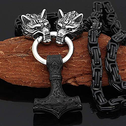AMOZ Jynqr Vikings Amuletos Religiosos con Cadena de Rey Negro, Collar de Martillos 's Thor' para Hombre, Colgante Vívido de 4 Colores, Plata, 50 cm / 20 Pulgadas,Negro,70 cm / 28 Pulgadas