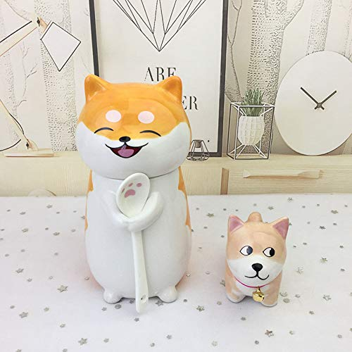 Cute Pet Ceramic Mug, Cat Animal Mug, Water Cup with Lid Spoon, Cat Hug Mug 275ml+Ornament No. 5 New Shiba Inu