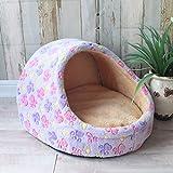 Roofeel Mascota Perro Casa Cálido Perro Cama Kennel Suave Puppy Cojín Gato Nest Perros Basket Chihuahua Teddy Cama para Perros Pequeños Y Medianos (Pata Morada,45x41x28)
