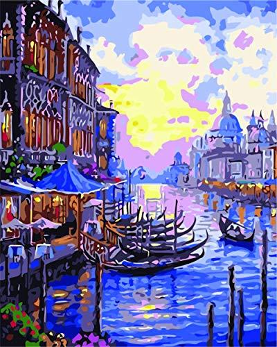 DIY Pintura por Números Kits Barco fluvial for Adultos Mayores Niños Joven Pintura para Pintar por números - 12X16 Inch Sin Marco