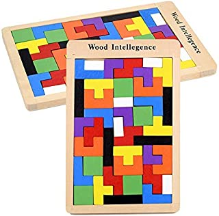 Wooden Tangram Jigsaw Tetris Puzzle Toy Educational Game