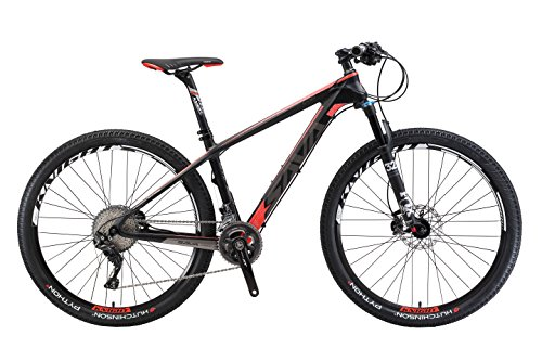 Review Carbon Frame Mountain Bike 22 Speed (Black red, 17″)