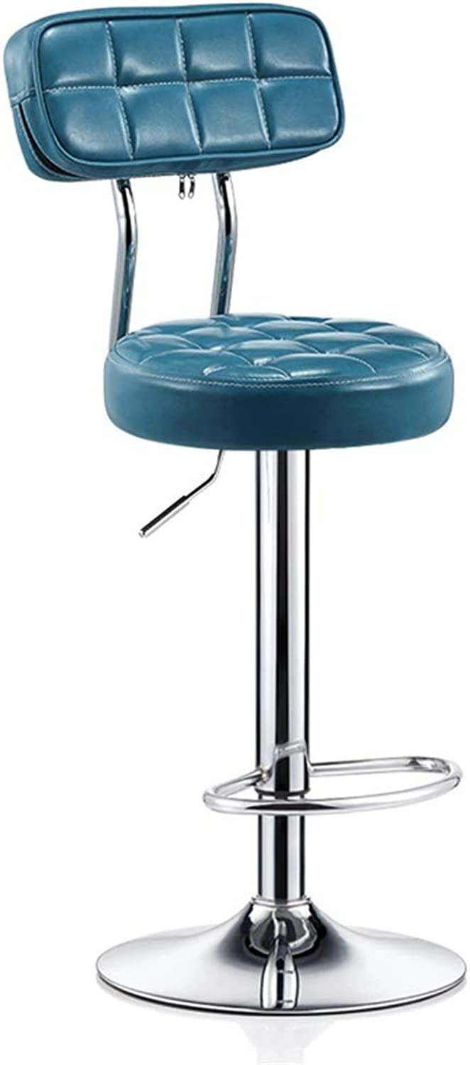 Bar Stools Modern Adjustable Swivel Dinning Chairs Barstools Chair Footrest Round PU Seat Backrest Adjustable Swivel Gas Lift, Height 60-80cm for Kitchen Breakfast Bar Stool Chromed Plate Base Max. Lo