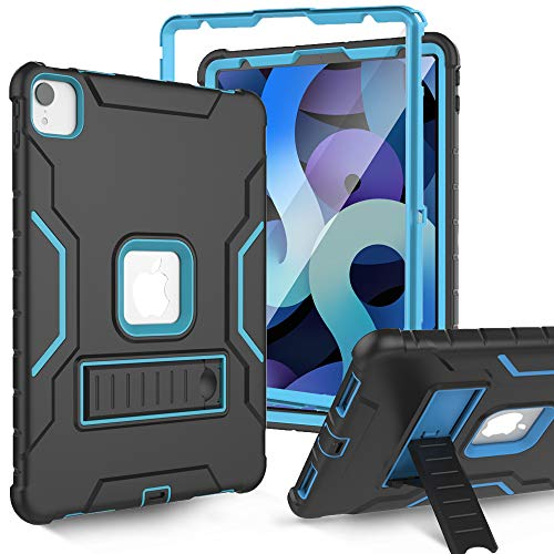 SINSO Case for New iPad Air 4th Generation 10.9 Inch 2020, Full Body Rugged Case with Built-in Screen Protector, Shockproof Heavy Duty Stand Case for 2020 iPad Air 4 10.9/iPad Pro 11, Black and Blue