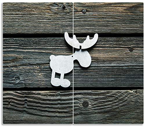 Wallario Herdabdeckplatte/Spritzschutz aus Glas, 2-teilig, 60x52cm, für Ceran- und Induktionsherde, Elch Symbol in weiß, vor dunklem Holz