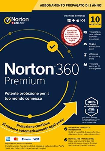 Norton 360 Premium 2021, Antivirus per 10 Dispositivi, Licenza di 1 anno con rinnovo automatico, Secure VPN e Password Manager, PC, Mac, tablet e smartphone