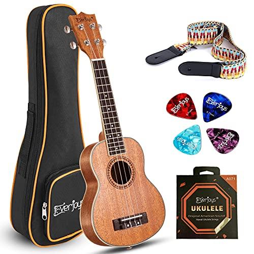 EVERJOYS Soprano Ukulele Beginner Pack-21 Inch w/Gig Bag,Strap, Picks, Strings All in One Kit(Natural)
