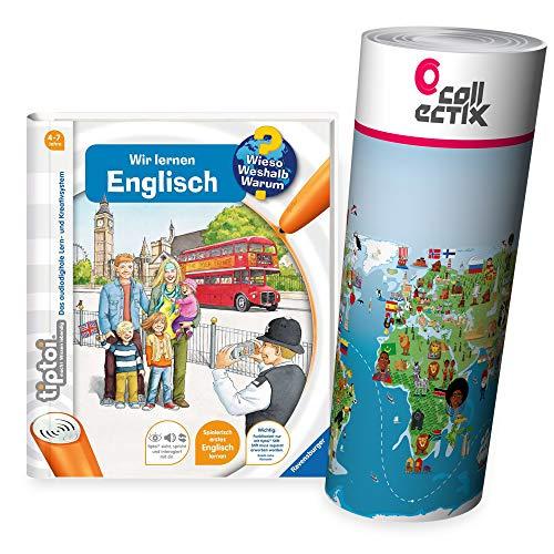 Ravensburger tiptoi ® Buch Wieso? Weshalb? Warum? - Wir Lernen Englisch + Kinder Weltkarte - Länder, Flaggen, Kontinente