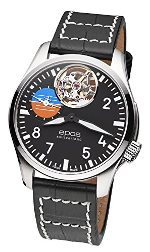 EPOS 411090 - Orologio da aviatore, analogico, meccanico, cinturino in...