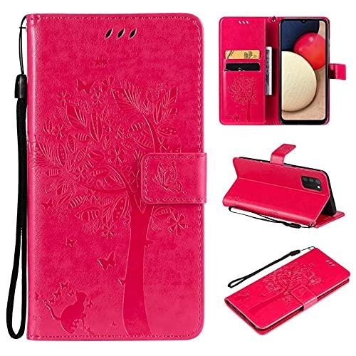 JJSMIDa Capa carteira Xiaomi CC9 fashion 3D em relevo árvore flores gato capa flip couro PU fólio suporte magnético capa com alça de pulso para Xiaomi CC9 (rosa vermelho)