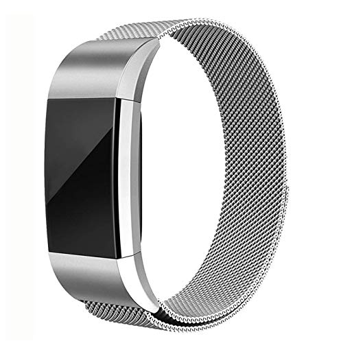 Erencook Replacement Bands Compatible with Fitbit Charge 2, Stainless Steel Metal Lock Replacement Wristband for Women Men(Large,Silver)