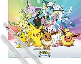 1art1 Poster + Hanger: Pokemon Mini Poster (20x16 inches) Pikachu, Eevee, Jolteon Flareon Vaporeon Umbreon Leafeon Glaceon Sylveon and 1 Set of Transparent Poster Hangers