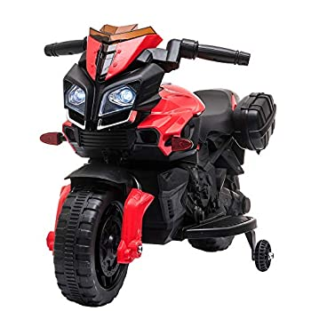 VALUE BOX 6V Kids Ride On Motorcycle Electric Toddler Motorbike Battery Powered Bicycle Toy W/Training Wheels for Children 3-7 Years Include Music LED Headlight Horn Red