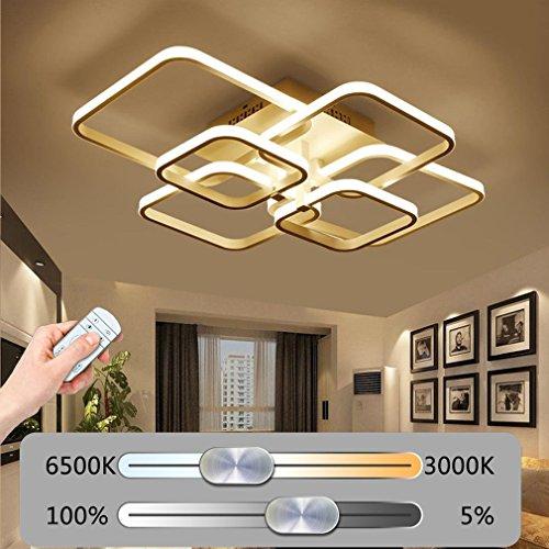 Deckenlampe LED Modern Mode Deckenleuchte Kreative Metall Acryl 6-Square Design Decke Leuchter Innen Dekor Beleuchtung Wohnzimmerleuchte Schlafzimmer Halle Fernbedienung Stufenlos Dimmbar 120W