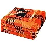 Bobor Buffalo Plaid Throw Blanket, Halloween Orange Black Checker Plaid Flannel Fleece Decorative Throw, Fluffy, Plush, Soft, Cozy, Warm Blankets (Orange Black Flannel, 50x60 inches)