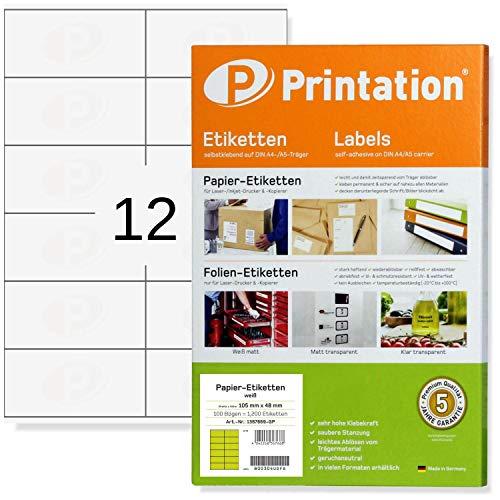 1200 etiquetas universales de calidad 105 x 48 mm, autoadhesivas, color blanco, imprimibles, 100 hojas DIN A4 de 2 x 6, 105 x...