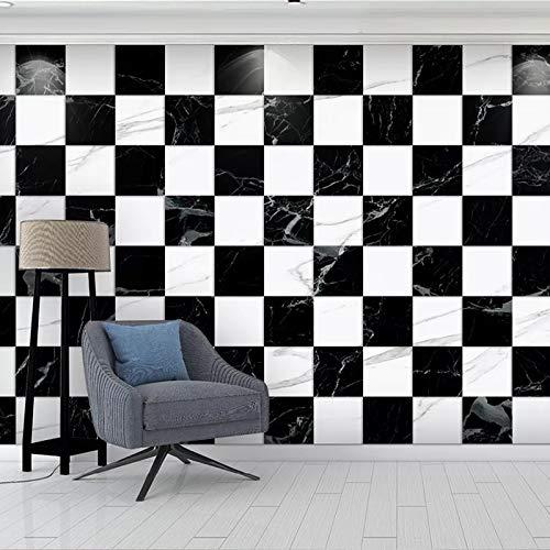 Papel pintado mural imagen 3D Papel tapiz 3D personalizado moderno negro blanco celosía mármol impermeable Mural cocina sala de estar restaurante foto de fondo arte de pared