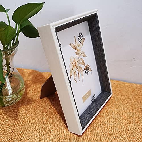 LZYMLG Marco de fotos de 10 x 15 cm, de madera blanca con borde grueso gris para decoración de escritorio, familiares y amigos regalos