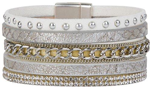 styleBREAKER Vintage Armband mit Strasssteine und Nieten, Schlangen Print und Kette, Magnetverschluss, Damen 05040023, Farbe:Antik-Weiß