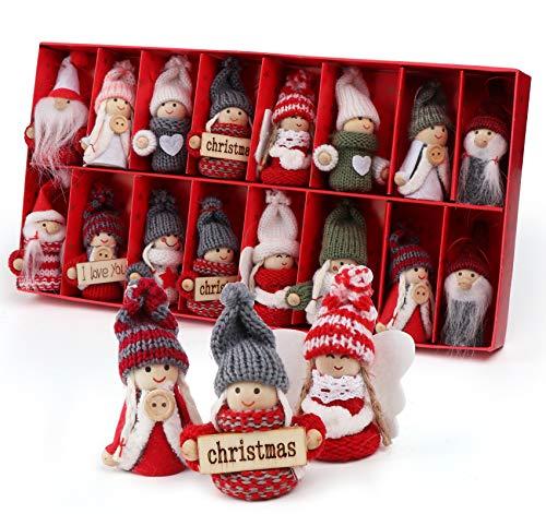 Sweelov 16-teiliges Set Weihnachtswichtel Anhänger Wichtel aus Holz Strick Baumanhänger Weihnachts-Deko Weihnachtsmann Christbaumanhänger, ca.8 cm