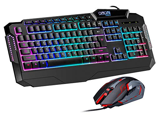 CHONCHOW Light Up Keyboard and Mouse Combo, Full Size LED Rainbow Backlit Gaming Keyboard with Dedicated Multimedia Keys & Wrist Rest, RGB Gaming Mouse 800-3200 DPI, for PS4 Xbox PC Computer Gamer