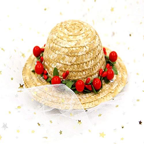 NACOCO Katzenhut mit Sonnenblumen-Strohhut, handgefertigt, Rose, schöne Sonnenkappe, Zubehör für kleine Hunde und Katzen, S, rot