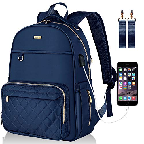 Landici Baby Changing Bag Backpack,Waterproof Large Capacity Travel Diaper Bag Multi-Function Maternity Rucksack Nappy Bag with Changing Mat&Stroller Strap&USB Charging Port for Mom & Women-Blue