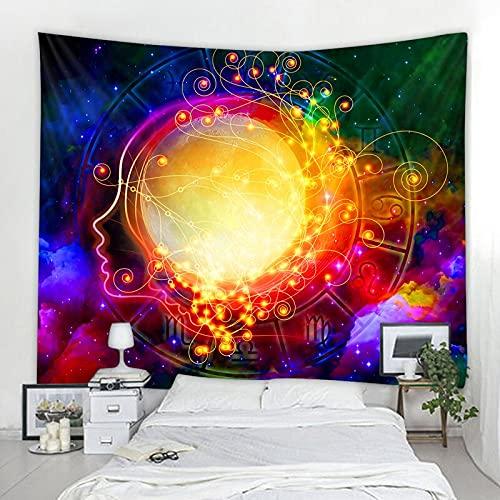PPOU Noche Estrellada Galaxy Constelación Decoración Tapiz psicodélico Colgante de Pared Tapiz de Mandala Indio Hippie Chakra Tapiz A5 73x95cm