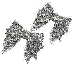Silver Handmade Bow Resin Rhinestone