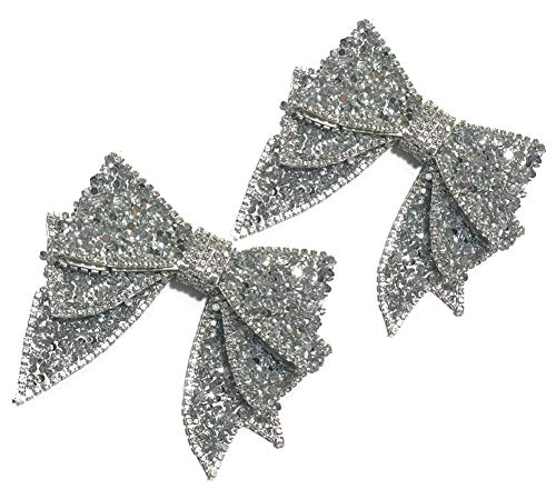 2 PCS DIY Handmade Bow Resin Rhinestone Shoes Bag Package Accessories (Silver)