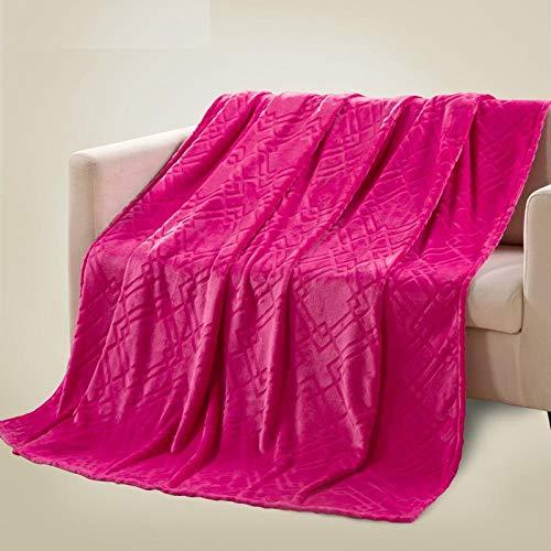Asbecky Mantas Manta de Color Puro Manta de Franela Gruesa Hoja de vellón de Coral Gran sofá de Cama cálido y Esponjoso-El 150x200cm_Segundo