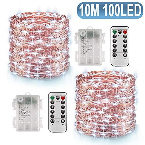 Lichterkette Batterie, 2er 10M 100 LED Lichterkette 8 Modi Außenbeleuchtung Batteriebetrieben Kupferdraht Wasserdichte IP68 mit Fernbedienung und Timer für Zimmer Weihnachten Dekoration (Kaltesweiß)