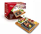 Artestia Double Cooking Stones in One Sizzling Hot Stone Set, Steak Stone Plate Tabletop Grill,steak stone cooking set/BBQ/Hibachi/Steak Grill (Deluxe Set with Two Stones on One Bamboo Platter)