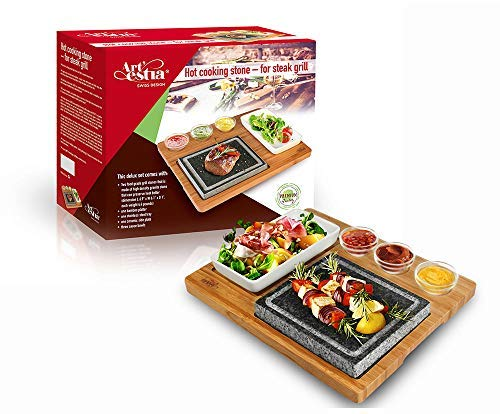 Artestia Double Cooking Stones in One Sizzling Hot Stone Set,Stainless Steel Tray,Bamboo Platter,Ceramic Side Dishes,Deluxe BBQ/ Hibachi/ Steak Grill (Deluxe Set with Two Stones on One Bamboo Platter)