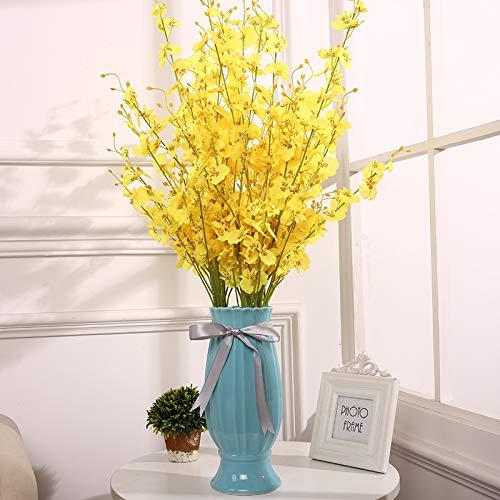 Dansende Orchidee Simulatie Nep Bloem Set Europese Droog Boeket Woonkamer Eettafel TafelTV Kast Versierd met Orchidee Orchidee Dansende Orchidee 12 takken en hoge 31cm trofee vaas
