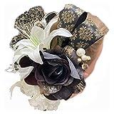 Lupine 髪飾り ユリ ダリア 白バラ 黒 9本セット 結婚式 成人式 卒業式 袴 プリザーブドフラワー 造花 花 hg0068