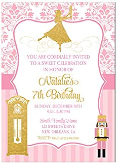 Christmas Party Invitation - Nutcracker Ballet Birthday Party - Pink and Gold Clara Collection