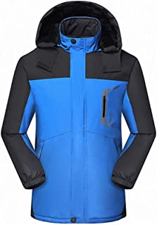 FidgetGear Winter Men Outdoor Jacket Waterproof Warm Coats Male Casual Thicken Velvet Jacket Outwear Mountaineering Overcoat Male Blue XL