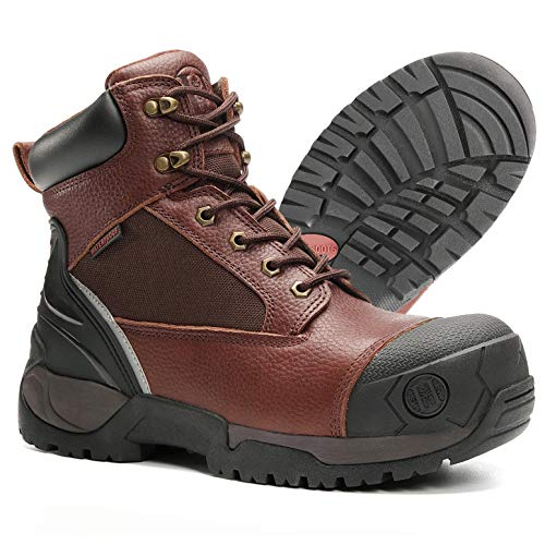 """HANDMEN Work Boots for Men, 6"""" Composite Toe Waterproof Mens Work Boots, Slip Resistant Puncture-Proof Anti-Static Safety EH Working Shoes with Rubber Outsole (MK-HM1126, 7-DBN)"""