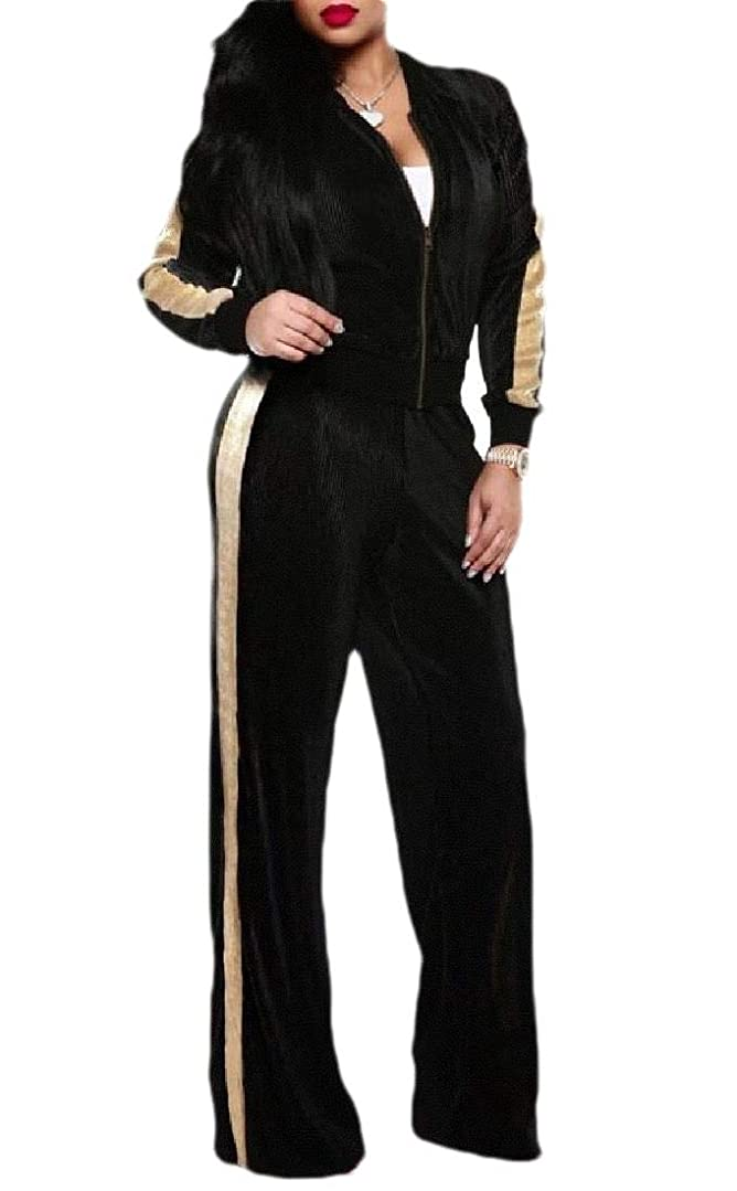 花弁協会なくなるWomen's Velvet Tracksuit Zip Jackets and Sweatpants Jogging 2 Piece Outfits Suit