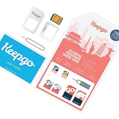 Keepgo Global Lifetime 4G LTE Data SIM Card for Europe, Asia & The Americas + 1GB Credit (Best Overseas Sim Card)