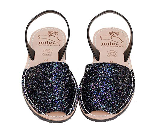 Authentic Avarca Menorquina Sandals Basic Escarcha Multinegro - Talla 42 EU