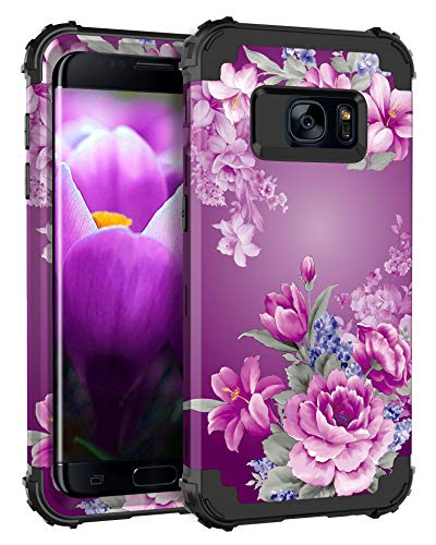 Lontect Compatible Galaxy S7 Case Floral 3 in 1 Heavy Duty Hybrid Sturdy Armor High Impact Shockproof Protective Cover Case for Samsung Galaxy S7, Black/Purple Flower