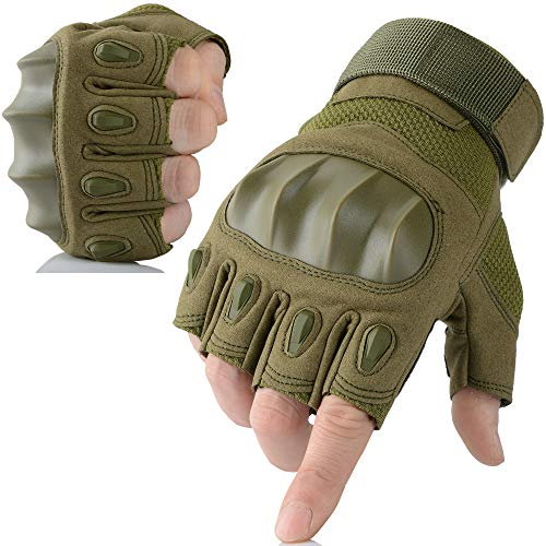 AXBXCX Touchscreen Fingerless Gloves for Men Hiking Climbing Camping Motorcycle Motorbike Dirtbike Cycling Bicycle Riding Driving Green L