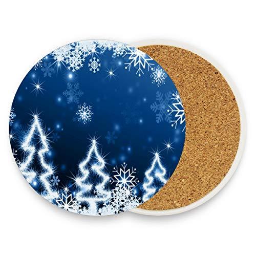 Untersetzer für Getränke, Weihnachtsbaum-Motiv, Blau, 1 Stück, keramik, multi, 0.20x3.9inx1