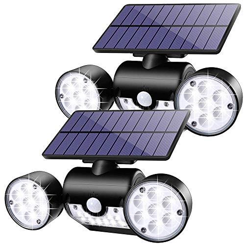 (Confezione da 2) Luci solari da esterno, Lampade da parete solari a induzione per il corpo umano, 30 luci solari a LED per giardino Garage Patio Cortile Illuminazione scale Sicurezza.