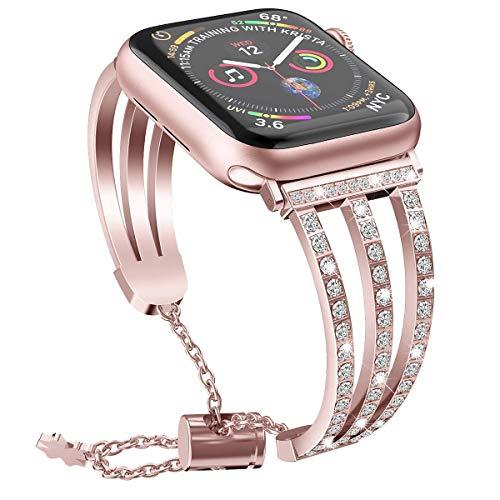 Bandas de metal Compatible con Apple Watch 38mm 40mm 42mm 44mm Correa de acero inoxidable de la correa de reemplazo de la banda de la pulsera Sport Soft transpirable para iWatch Series 6 / SE / 5/4/3/