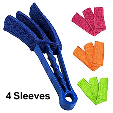 ELECOOL Window Blind Brush Dust Cleaner With 4 Sleeves for Air Conditioner Window Shades Blinds Jalousie Shutter (8'' Long Arm)