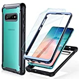 FITFORT Samsung Galaxy S10 Case Full Body Rugged Heavy Duty Clear Bumper Case with Free Screen Protector, Shock Drop Proof Impact Resist Extreme Durable Protective Cover for Galaxy S10 (2019)