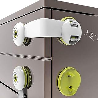 قفل باب الثلاجة من 5 قطع، قفل امان لسلامة الطفل، اقفال خزانة واقية للاطفال، تتناسب بشكل مثالي للخزانات والابواب المنزلقة و...